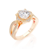 Ring Diamond F/VS1, Gold 18K - Style Halo, Collection Vintage